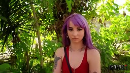 Purple-haired Punk Squirts On A Big Bobby - HD